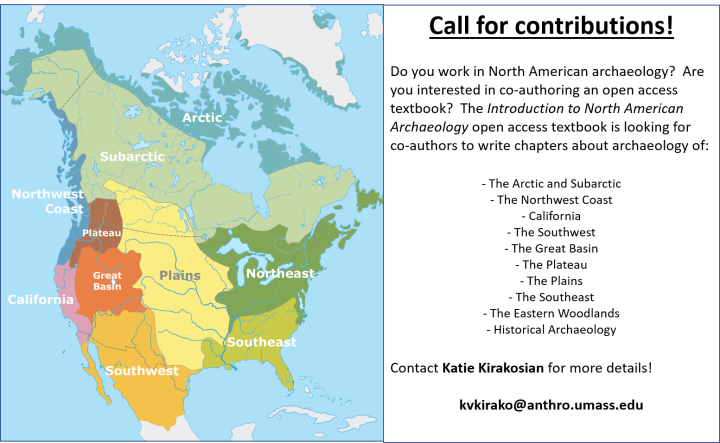 Introduction to North American Archaeology Open Access Textbook – A Call for Contributions!
