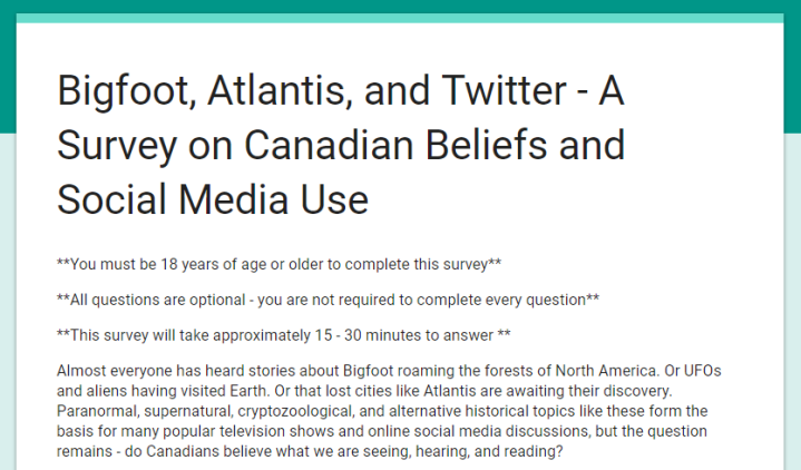 Bigfoot, Atlantis, and Twitter – A Survey on Canadian Beliefs and Social Media Use