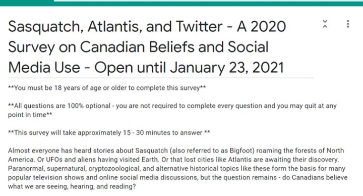 A Survey on Canadian Beliefs – Open Again Until Jan 23, 2021