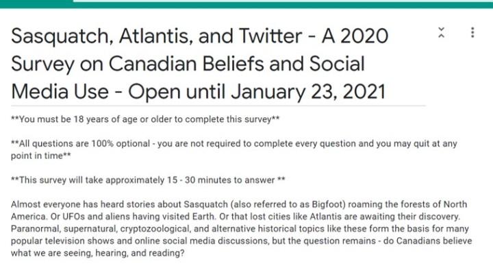 A Survey on Canadian Beliefs – Open Again Until Jan 23,2021